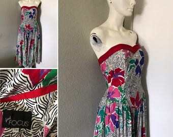 Vintage 80s dress 90s dress corset Just Focus strapless dress primary colors 80s costume valley girl sweetheart bust pinup
