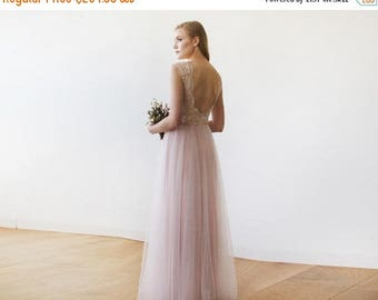 25% OFF Pink Blush Tulle and Lace Sleeveless Maxi Gown 1145