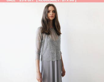 25% OFF Grey lace , long sleeves top, Lace top, Sheer grey lace blouse 2024