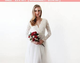25% OFF Ivory tulle and lace long sleeves wedding gown, Tulle and lace bridal gown, Tulle wedding empire dress 1125.