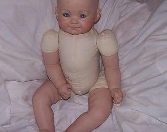 Hand painted Portrait Doll, 22 Inches long, Blue eyes, Blonde hair. SIGNED.