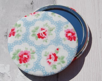 Cath Kidston Provence Rose Fabric Covered Pocket Mirror