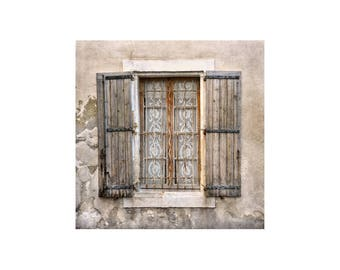 Lace Curtains Photo, French Window, Weathered Shutters, Beige Tones, Rustic Decor