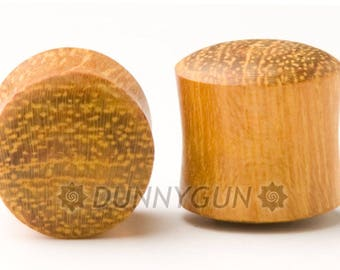 00G Pair Solid Yellowheart Wood Plugs Organic Hand Carved  Wood Body Piercing Jewelry 00 Gauge Earrings