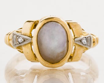 Vintage Ring - Vintage 14k Yellow Gold Star Sapphire and Diamond Ring