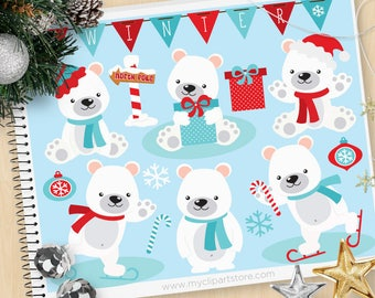 Polar Bears clipart, Christmas bears, north Pole, winter bears, arctic animals, snowflakes, Commercial use, Vector Clipart, SVG Cut files