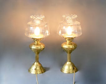 Awesome Set Of 2 Vintage 1960 Brass Table Lamps Lanterns With Clear Glass Globe  Shades