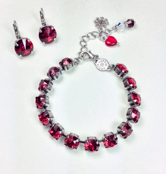 Swarovski Crystal 8.5mm  Bracelet & 12mm Earrings -  Designer Inspired -  Hot New SCARLET Red - Festive Christmas Red! - FREE SHIPPING