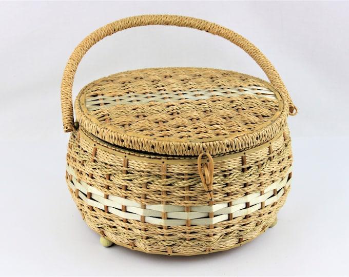 Vintage 1960s DRITZ Round Wicker Sewing Basket