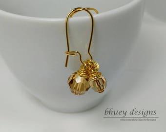 "Swarovski Crystal Earrings - Topaz Crystal Earrings - ""Rumpelstiltskin"""