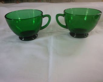 Beautiful Pair of Forest Green Punch Cups - Punch Cups - Green Cups - Christmas Decor - Punch Bowl Cups