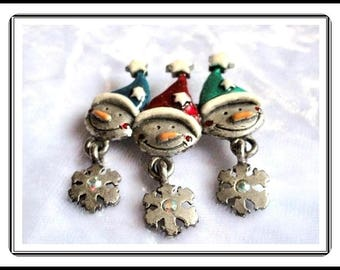 Three Snowmen Pin - Winter Holiday brooch - Signed AJMC - Pewter tone with Enamel Hats and Accents - Dangling Snowflakes Pin-1365e-060514000