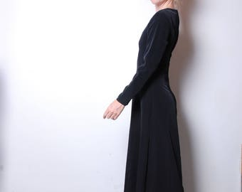 90s small fitted recital black long sleeve gown womens vintage clothing boho dress formal suit witch uniform concert attire Tuxedo