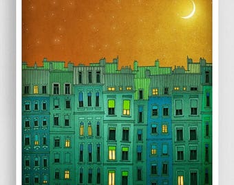 30% OFF SALE: Paris illustration - Golden night II. - Fine art illustration Print Paris art City prints Paris decor Travel poster Wall art G