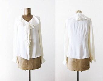 White Ruffle Blouse - Silk Ruffle Neck Top - 90s Blouse - Long Sleeve Silk Shirt - 90s Clothing - Puffy Shirt - Pirate Shirt