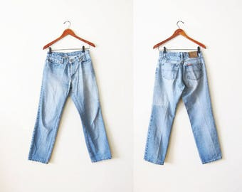 Ralph Lauren Polo Jeans Co Denim - Polo Mom Jeans - Saturday Jeans - Straight Leg jeans - Faded Distressed Denim 28