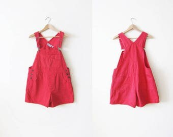 Womens Overall Shorts - Shortalls - Red Overalls - Short Overalls - Overalls Large - Denim Overall Shorts - Overalls Large - Romper