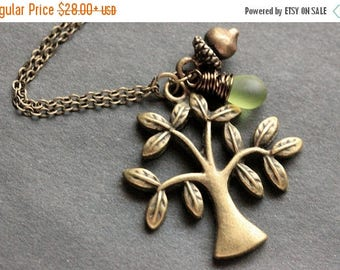 SUMMER SALE Tree Necklace. Bronze Tree and Acorn Charm Necklace with Wire Wrapped Teardrop. Handmade Jewelry.
