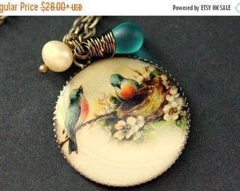 VALENTINE SALE Blue Bird Family Necklace. Bluebird Nest Necklace. Bird Pendant with Teal Glass Teardrop and Pearl. Bird Jewelry. Handmade Je