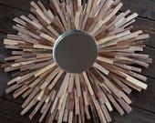 CUSTOM ORDER for LISA Whitewashed Walnut Wood Sunburst Mirror