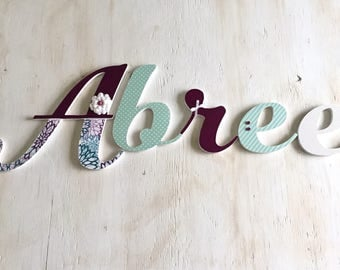 Girl's Room Letters Purple and Mint or Aqua - Baby Nursery Letters - Girl's Room Decor - Wood Letters - Nursery Letters - Price Per Letter
