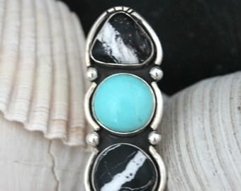 Multi Stone Ring, Three Stone Ring, White Buffalo Ring, Turquoise Ring, Southwestern Ring, Southwestern Jewelry, Boho Ring, Bohemian Jewelry