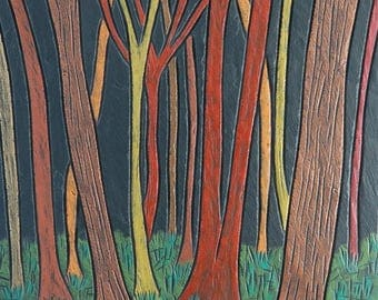 Woodland Scene on Slate 'Tree Trunks@