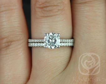Rosados Box Ready to Ship Eloise 6.5mm 14kt White Gold F1- Moissanite and Diamonds Cathedral Wedding Set