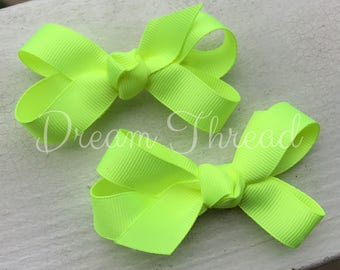 Set of TWO Neon Boutique Hairbows, Baby Boutique Bows, neon yellow, neon pink, HairBows, Flower Hairbows, girls, set of two bows (made to or