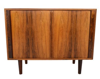 Small Danish Modern Mid Century Tambour Credenza in Rosewood by Kai Kristiansen