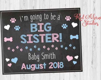 Dog Big Sister Pregnancy Announcement Sign. Dog Pregnancy Reveal Sign. new baby announcement from dog. cat pet chalkboard poster photo prop
