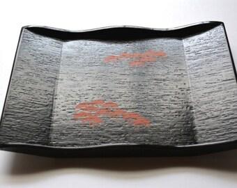 Black urushi lacquerware tray by Zohiko of Kyoto, Japan