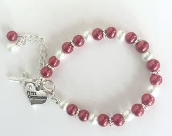 First Communion Bracelet, Communion Jewelry, First Communion Gift, Holy Communion Gift, Religious Jewelry, Holy Communion Presents