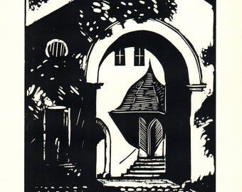 George Raab-Portal in Weimar-1939 Woodblock
