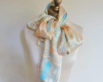 PASTEL silk scarf,long silk scarf, paisley silk scarf, large silk scarf, luscious silk scarf, luxe scarves,  hand rolled ladies long scarf,