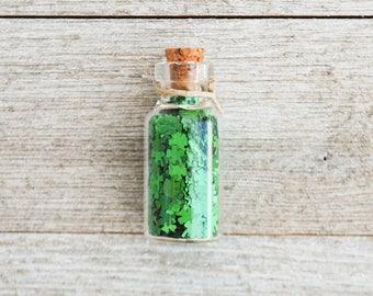 Four Leaf Clover Jar | St Patrick's Day Confetti | Lucky | Fairy | Shamrock | Glitter | Four Leaf Clover | Shamrock | Garden Accessory