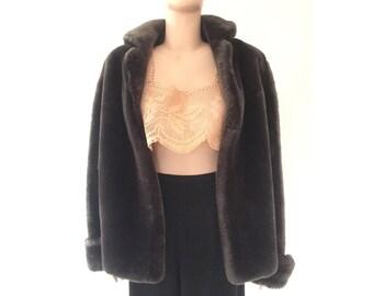 50s gray mouton fur coat | M.L