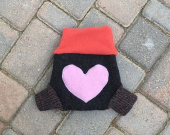 Cloth Diaper Cover, Wool Soaker, Overnight Diaper, Shorties, Cloth Nappy Cover - Dark Gray and Coral with Heart Applique - Size Small