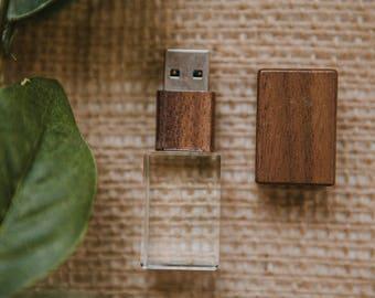 Set of 12 - 16gb FAST USB 3.0 - Walnut Crystal flash drive
