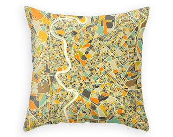 ROME MAP, Colorful Throw pillow for your home decor (ivory version)