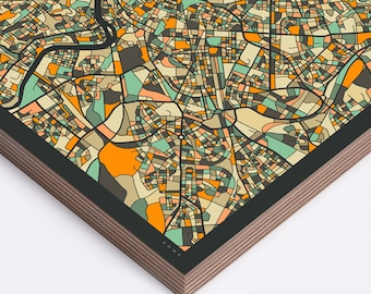 ROME MAP Ready to Hang Wood Print (Wall Art for your Home Décor) dark version