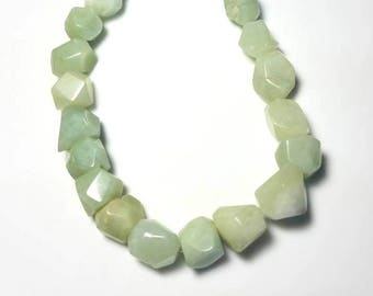 green quartz gemstone necklace stone nugget bib necklace bold extra long beaded statement jewelry unique gifts for her necklaces for women