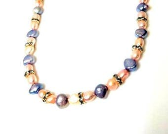 pink blue freshwater pearl silver rondelle necklace unique beaded handmade jewelry gifts for her necklaces for women