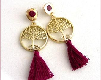 Earrings - brushed metal and tassel plum tree