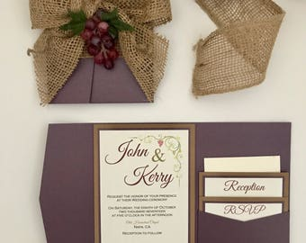 winery burlap wedding invitation rustic wine invitation wedding invitation suite elegant invitations - Winery Wedding Invitations