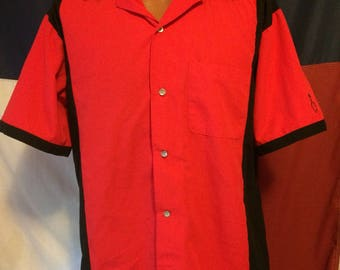 Red and black bowling shirt