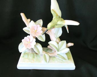 Vintage Lefton Hummingbird SEVILLA Figurine, Hummingbird and flowers figurine