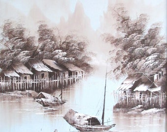 Vintage oil painting water scene, Chinese sampan boats water village and mountain landscape.