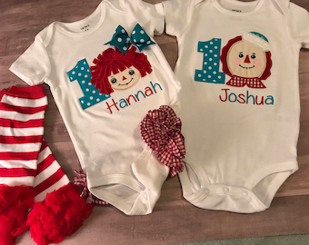 Raggedy Ann and Raggedy Andy birthday outfits