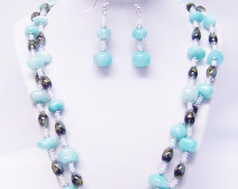2 Strand Chunky Mint Polished Mineral Beaded Necklace/Bracelet/Earrings Set